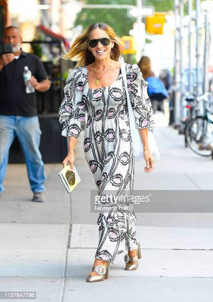Sarah Jessica Parker is seen in walking tribeca on July 25, 2019 in New York City.