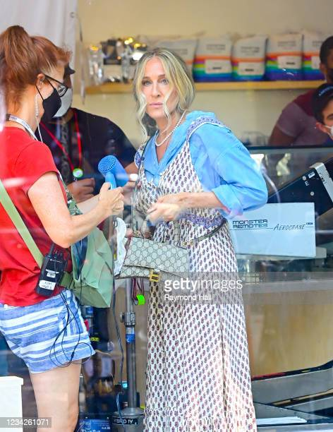 """Sarah Jessica Parker is seen on location for """"And Just Like That..."""" on July 27, 2021 in New York City."""