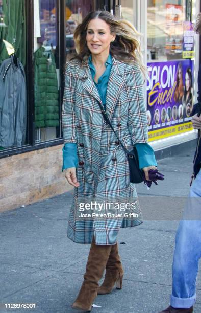 Sarah Jessica Parker is seen on the set of Divorce on March 06 2019 in New York City