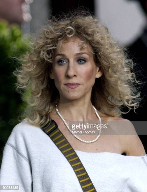 """Sarah Jessica Parker is seen on the set of the movie """"Sex in the City 2"""" on location on the streets of Manhattan on September 1, 2009 in New York..."""