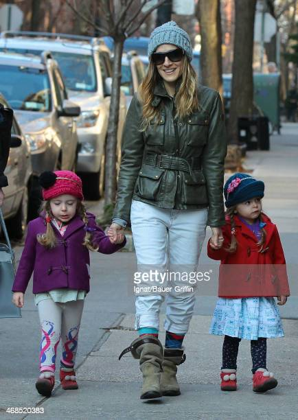 Sarah Jessica Parker is seen with her twin daughters Marion Loretta Elwell Broderick and Tabitha Hodge Broderick on March 13 2013 in New York City