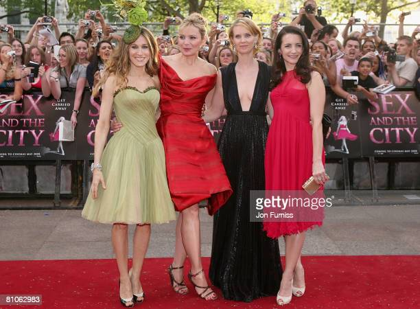Sarah Jessica Parker, Kim Catrall, Cynthia Nixon and Kristin Davis attend the Sex And The City world premiere held at the Odeon Leicester Square on...