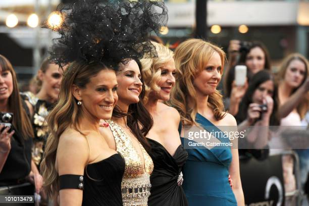 Sarah Jessica Parker Kristin Davis Kim Cattrall and Cynthia Nixon attend the UK premiere of Sex And The City 2 at Odeon Leicester Square on May 27...