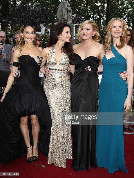 Sarah Jessica Parker Kristin Davis Kim Cattrall and Cynthia Nixon attend the UK premiere of 'Sex and the City 2' at Odeon Leicester Square on May 27...