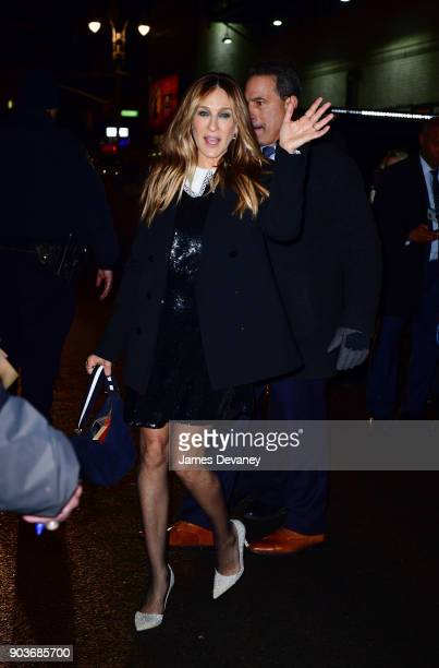 Sarah Jessica Parker leaves the 'The Late Show With Stephen Colbert' at the Ed Sullivan Theater on January 10 2018 in New York City