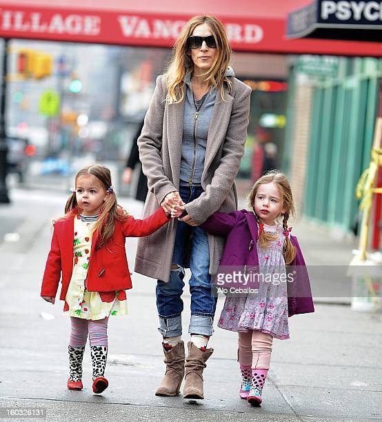 Sarah Jessica Parker Marion Loretta Elwell Broderick and Tabitha Hodge Broderick are seen in the West Village on January 29 2013 in New York City
