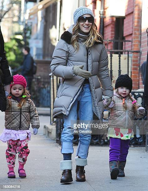 Sarah Jessica Parker Marion Loretta Elwell Broderick and Tabitha Hodge Broderick are seen in the West Village on March 4 2013 in New York City