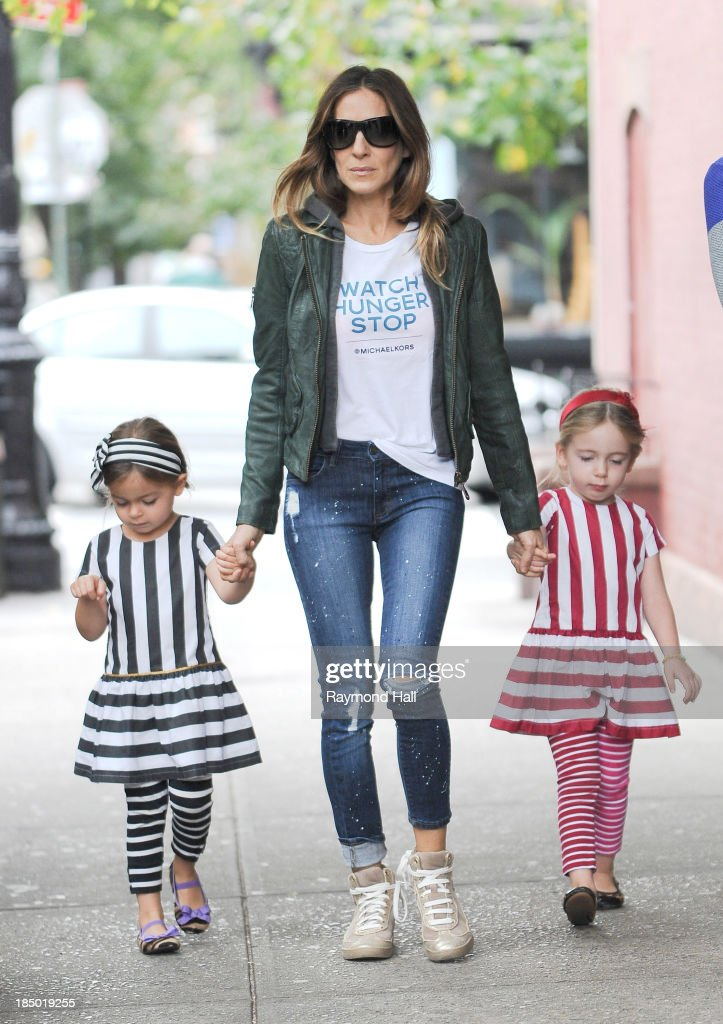Sarah Jessica Parker, Marion Loretta Elwell Broderick and Tabitha Hodge Broderick are seen in the West Village on October 16, 2013 in New York City.