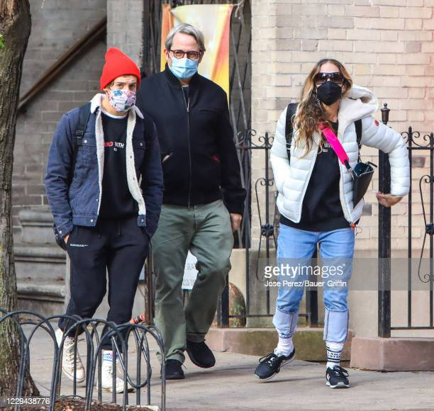 Sarah Jessica Parker, Matthew Broderick and son James Wilkie Broderick are seen on November 03, 2020 in New York City.