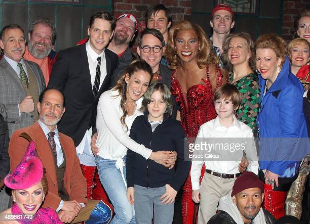 Sarah Jessica Parker Matthew Broderick and son James Wilkie Broderick pose with the cast backstage at the hit musical 'Kinky Boots' on Broadway at...