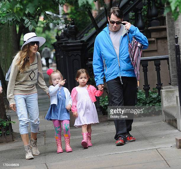 Sarah Jessica Parker, Matthew Broderick, Marion Broderick and Tabitha Hodge Broderick seen in the West Village on June 13, 2013 in New York City.