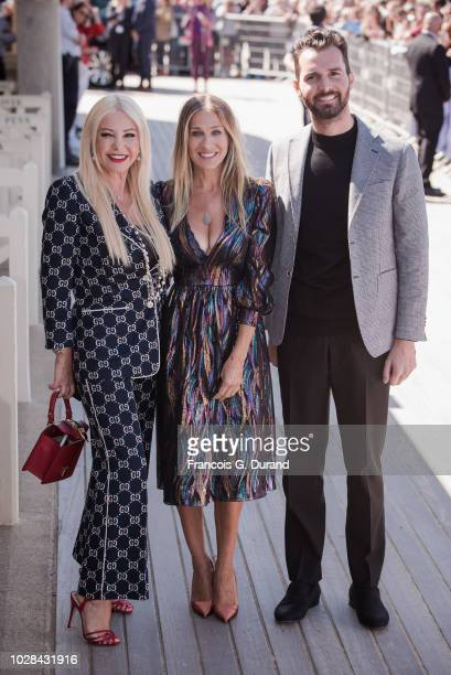 Sarah Jessica Parker Monika Bacardi and Andrea Iervolino pose during the 44th Deauville US Film Festival on September 7 2018 in Deauville France