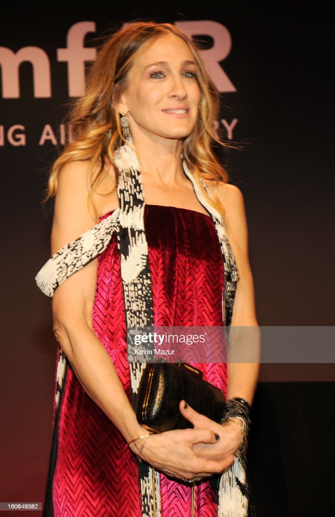 Sarah Jessica Parker on stage during the amfAR New York Gala To Kick Off Fall 2013 Fashion Week at Cipriani Wall Street on February 6, 2013 in New York City.