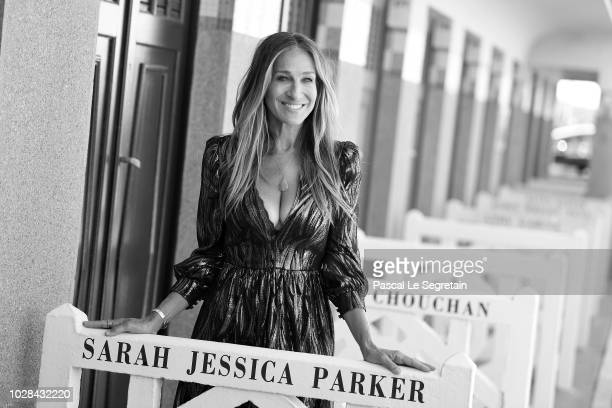 Sarah Jessica Parker poses at her dedicated beach closet as representation of her Deauville Talent Award at a photocall during the 44th Deauville...