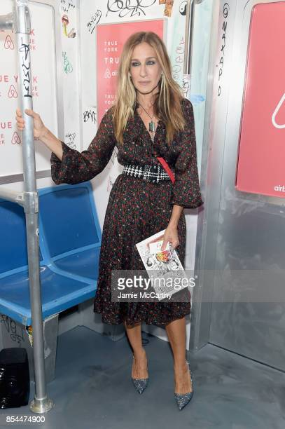 Sarah Jessica Parker poses during Airbnb's New York City Experiences Launch Event on September 26 2017 in the Brooklyn borough of New York City City