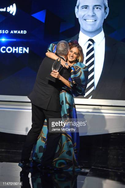 Sarah Jessica Parker presents an award to Andy Cohen onstage during the 30th Annual GLAAD Media Awards New York at New York Hilton Midtown on May 04...