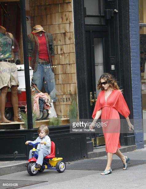 Sarah Jessica Parker seen taking son James Broderick for a tricycle ride in their West Village neighborhood