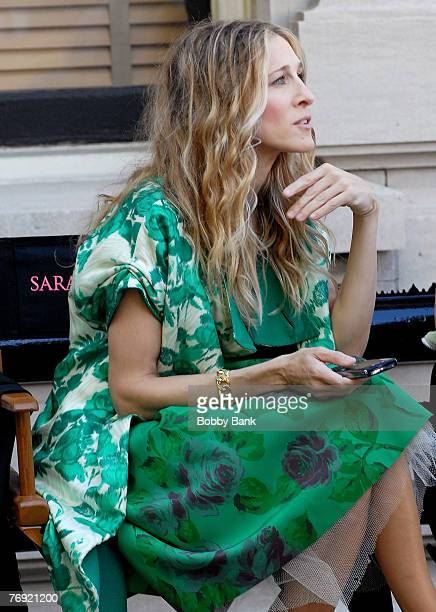 Sarah Jessica Parker sits on Location for Sex and The City The Movie on Fifth Avenue's Museum Mile New York City September 19 2007
