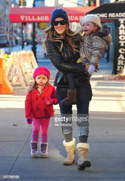 Sarah Jessica Parker Tabitha Hodge Broderick and Marion Loretta Elwell Broderick are seen in the West Village at Streets of Manhattan on December 6...