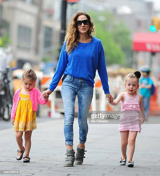Sarah Jessica Parker Tabitha Hodge Broderick and Marion Loretta Elwell Broderick are seen in the West Village on May 22 2013 in New York City