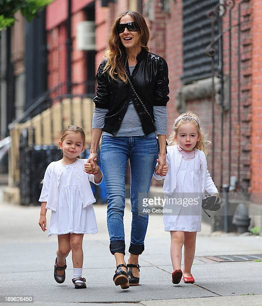 Sarah Jessica Parker, Tabitha Hodge Broderick and Marion Loretta Elwell Broderick are seen in the West Village on May 29, 2013 in New York City.