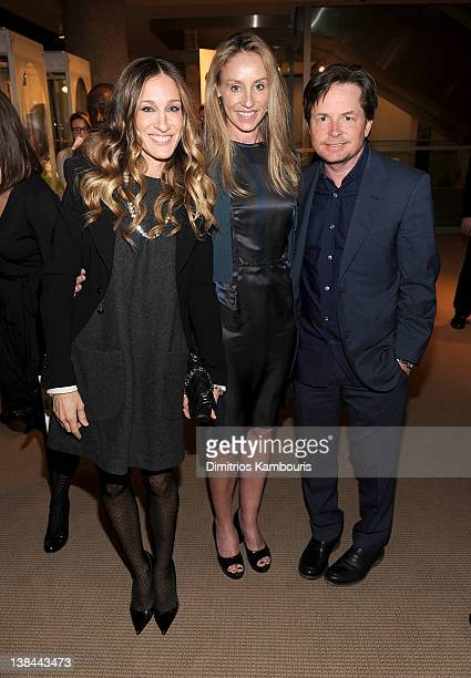 Sarah Jessica Parker Tracy Pollan and Michael J Fox attend the book launch party for Ali Wentworth's new book Ali In Wonderland at Sotheby's on...