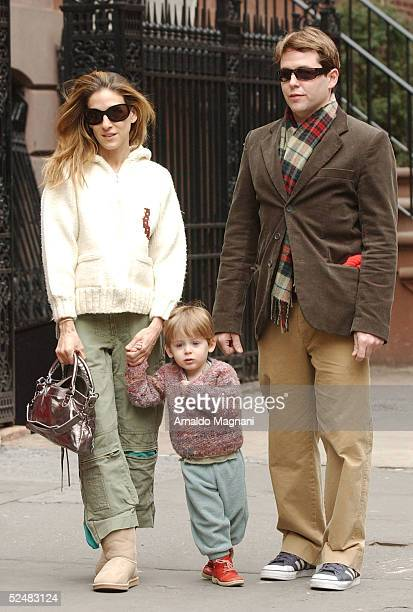 Sarah Jessica Parker walks through Greenwich Village with her husband Matthew Broderick and son James and on March 26, 2005 in New York City. Parker...