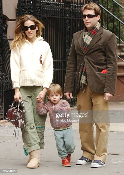 Sarah Jessica Parker walks through Greenwich Village with her husband Matthew Broderick and son James and on March 26 2005 in New York City Parker...