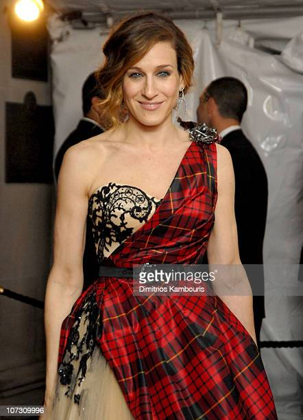 Sarah Jessica Parker wearing Alexander McQueen during AngloMania Costume Institute Gala at The Metropolitan Museum of Art Departures Celebrating...