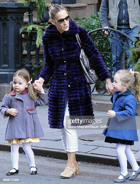 Sarah Jessica Parker with her daughters Tabitha Broderick and Marion Broderick are seen on December 19 2012 in New York City