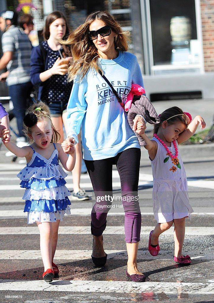 Sarah Jessica Parker with Tabitha Broderick (L) and Marion Broderick (R) are seen in the West Village on May 10, 2013 in New York City.
