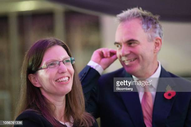 Sarah John chief cashier at the Bank of England left and Ben Broadbent deputy governor for monetary policy at the Bank of England attend a news...