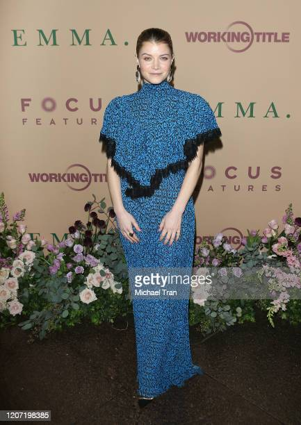 """Sarah Jones attends the Los Angeles premiere of Focus Features' """"Emma."""" held at DGA Theater on February 18, 2020 in Los Angeles, California."""