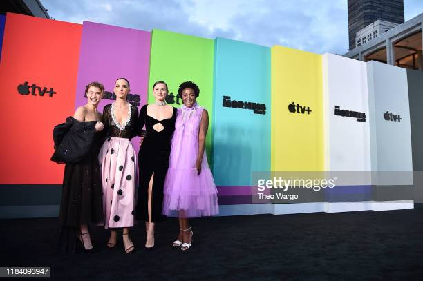 Sarah Jones Jodi Balfour Shantel VanSanten and Krys Marshall attend Apple TV's The Morning Show World Premiere at David Geffen Hall on October 28...