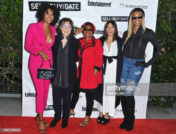 Sarah Jones Lilly Tomlin Jenifer Lewis Rashida Jones and Laverne Cox arrive at opening night of 'Sell/Buy/Date' at the Los Angeles LGBT Center on...