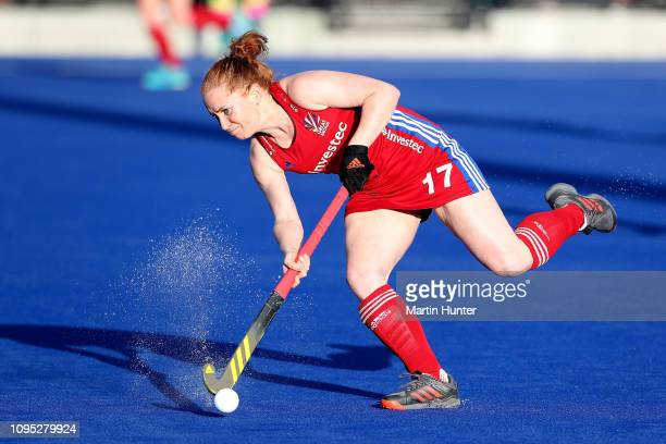 Sarah Jones of Great Britain controls the ball during the Women's FIH Field Hockey Pro League match between New Zealand and Great Britain at on Nga...