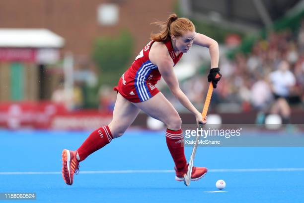 Sarah Jones of Great Britain runs with the ball during the Women's FIH Field Hockey Pro League match between Great Britain and New Zealand at...
