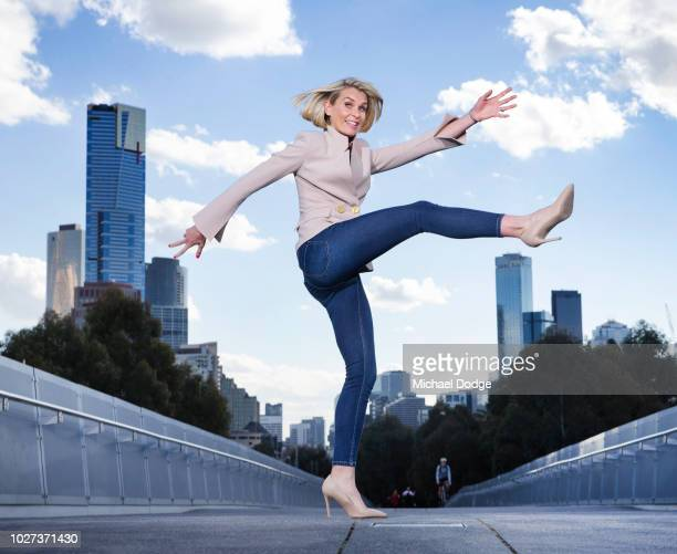 Sarah Jones shows off her magnificent right foot kick during the FOX FOOTY AFL Finals Series Launch at Birrarung Marr on September 4 2018 in...