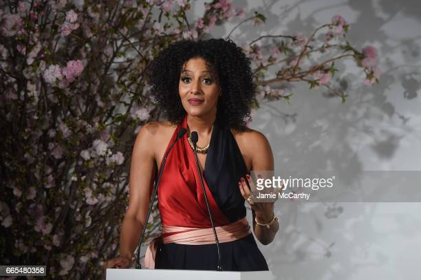 Sarah Jones speaks onstage at the 2017 DVF Awards at United Nations Headquarters on April 6 2017 in New York City