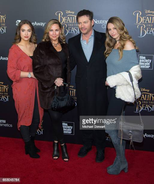 Sarah Kate Connick Jill Goodacre Harry Connick Jr and Georgia Connick attend the 'Beauty And The Beast' New York screening at Alice Tully Hall at...