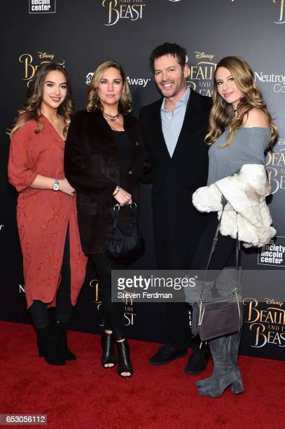 Sarah Kate Connick Jill Goodacre Harry Connick Jr and Georgia Tatum Connick attend the New York Screening of Beauty And The Beast at Alice Tully Hall...