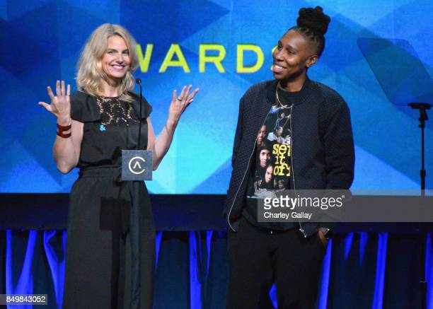 Sarah Kate Ellis and Lena Waithe speak onstage during the 11th Annual ADCOLOR Awards at Loews Hollywood Hotel on September 19, 2017 in Hollywood,...