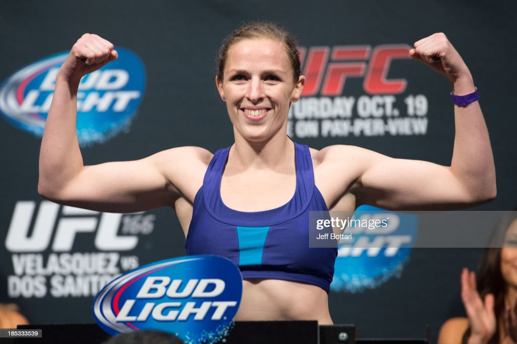 Sarah Kaufman weighs in during the UFC 166 weigh-in at the Toyota Center on October 18, 2013 in Houston, Texas.