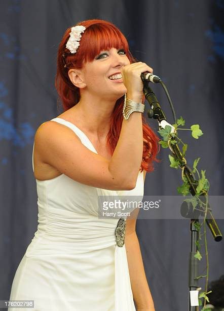 Sarah Kayte Foster performs on stage on Day 3 of Fairport's Cropredy Convention at Cropredy on August 10 2013 in Banbury England