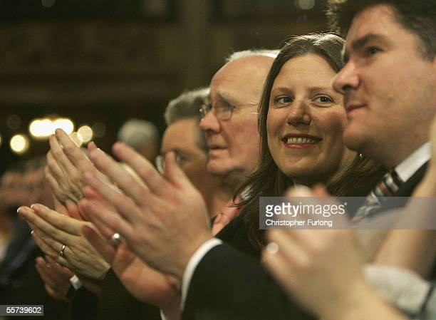 Sarah Kennedy applauds the speech of her husband Charles Kennedy leader of The Liberal Democrats as he makes his closing speech at the party...