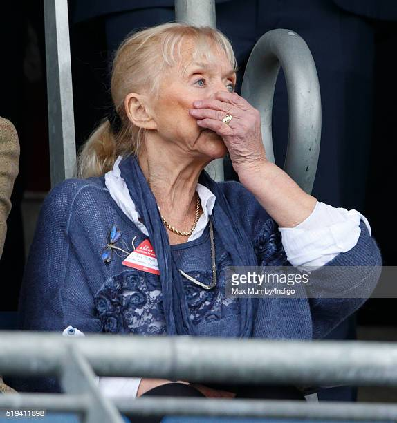 Sarah Kennedy watches the racing as she attends the Prince's Countryside Fund Raceday at Ascot Racecourse on April 3 2016 in Ascot England