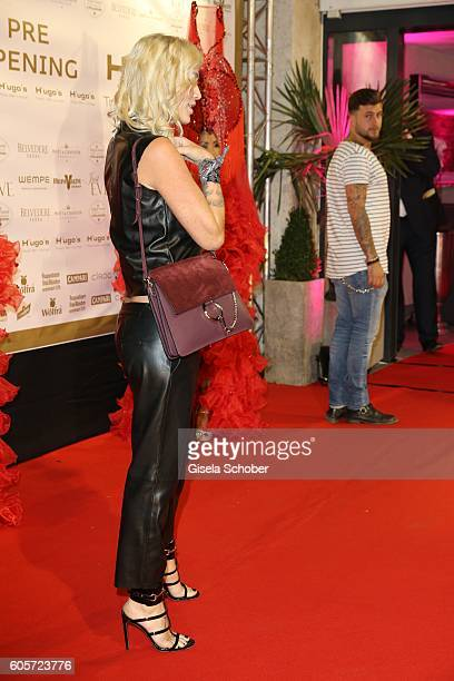 Sarah Kern and company during the H'ugo's Tresor Bar Lounge grand opening on September 14 2016 in Munich Germany