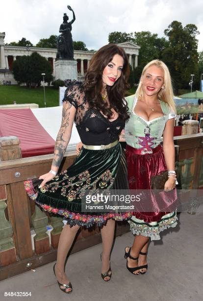 Sarah Kern and Evelyn Burdecki during the ProSieben Sat1 Wiesn as part of the Oktoberfest 2017 at Kaefer Tent on September 17 2017 in Munich Germany