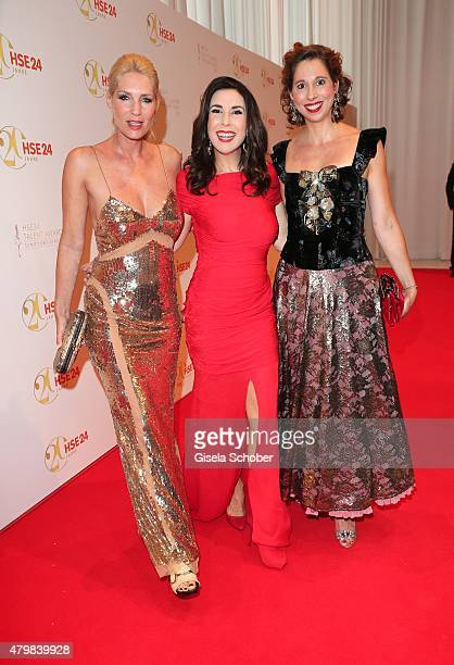Sarah Kern Judith Williams Lola Paltinger during the 20 year anniversary event of the home shopping channel HSE24 at Ziegelei on July 7 2015 in...