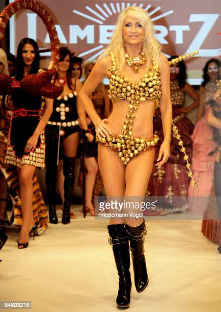 Sarah Kern walks down the catwalk at the Lambertz Monday Night Schoko Fashion at the Alten Wartesaal on February 3 2009 in Cologne Germany